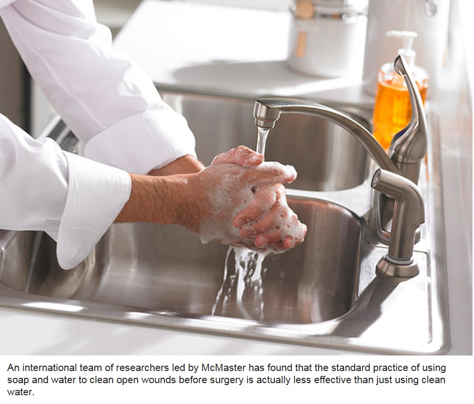 Saline water better than soap and water for cleaning wounds