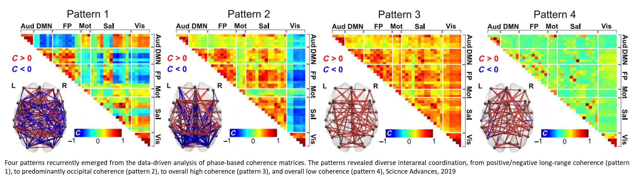 Dynamic complex patterns of brain signal coordination in human consciousness